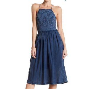 Lucky Brand Schiffli Embroidered Bib Dress